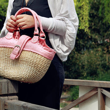 Womens Hand-woven Shopping Beach Basket Fully Lined Straw Bag / Satchel Bag Tote