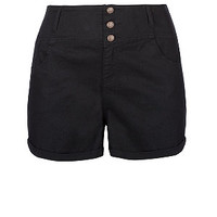 Black High Waist Button Up Shorts