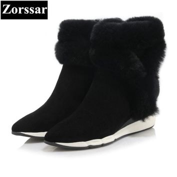 {Zorssar} 2017 NEW Classic winter Plush Women Boots Suede Ankle Snow Boots Female Warm Fur women shoes pointed Toe wedges boots