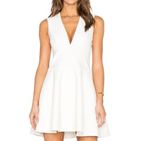 Halston Heritage Open Back V Neck Mini Dress in Bone