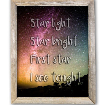 Star Light Star Bright First Star I See Tonight Printable Star Quote Print Nursery Decor Teen Wall Art Kids Room Star Printable 8x10