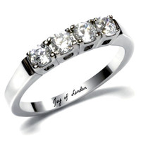 A Perfect 3TCW Round Cut Russian Lab Diamond Wedding Band