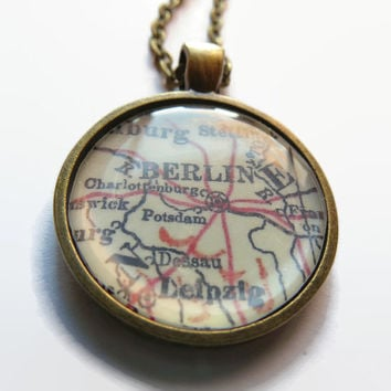 Berlin Germany map pendant, map jewelry, map necklace, pendant charm, resin pendant - A2003MP