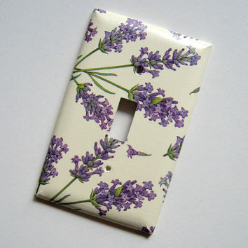Lavender Nature Single Switch Plate - switch cover, wall plate, paper, purple, botanical, home decor, natural, Nature inspired, modern, ooak