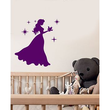 Vinyl Wall Decal Silhouette Princess Little Girl Room Fairy Tale Stickers (3854ig)