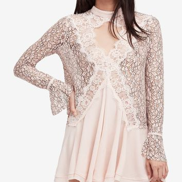 Free People Secret Origins Pieced Lace Tunic Blush