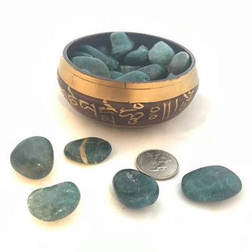 5 Apatite Stones, Apatite Tumbled Stones, Tumbled Apatite, Wire Wrapping Stone, Blue Stones, Healing Stones, Blue Apatite, Apatite Tumbles