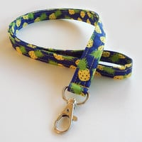 Pineapple Lanyard / Fruit / Pine Apple Keychain / Pineapples / Key Lanyard / ID Badge Holder / Cute Lanyards / Food Lanyard