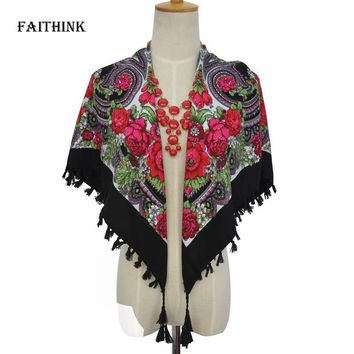 [FAITHINK] Russian Style Floral Women Spring Square Scarf Shawl Lady Solid Tassel Bohemia Bandana Ponchos and Capes Fashion Wrap