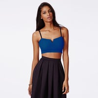 Blue Bodycon Bralet Top with Strap
