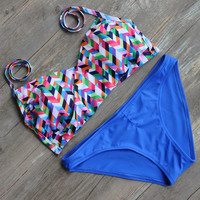 Print Beach Bathing Suit Swimwear Bikinis Set