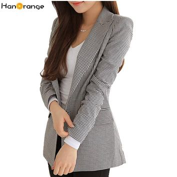 HanOrange 2017 New Spring Autumn Slim Houndstooth Plaid Long Blazer for Women Black White Jacket S/M/L/XL