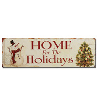 """Adeco Decorative Christmas Wood Wall Sign Plaque """"Home for the Holidays"""" with Snowman and Tree, Off White, Red Home Decor"""