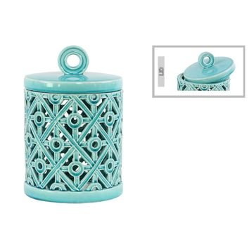 Round Canister with Ring Handle Cutout Cross Design Large-Blue-Benzara