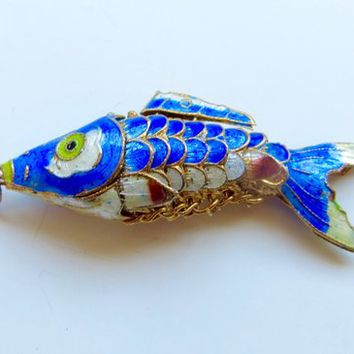Japanese Koi Fish Pendant Cobalt Blue Reticulated Enamel Fish Vintage Asian Export Jewelry, Fish Jewelry
