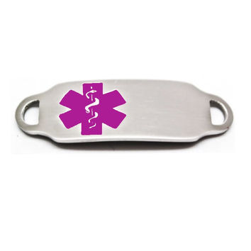 Engraved Stainless Steel Rectangle Medical Bracelet ID Tag - Purple