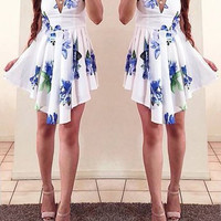 White Floral Spaghetti Strap Dress