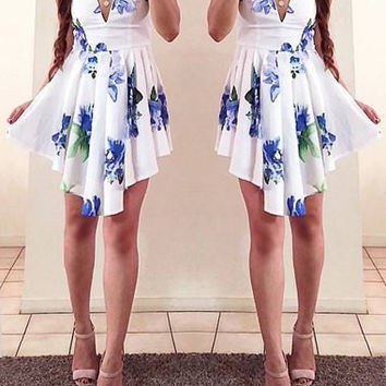 White Spaghetti Strap Floral Print Ruffled Dress