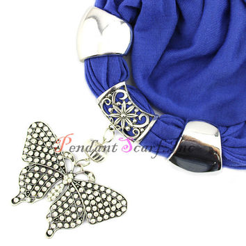 Free Shipping Solid Color Women's Fashion Butterfly Pendant Scarf Neclace Jewellery Shawl SC0042