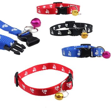 TOP Grand  2016 New Adjustable Nylon Pet Small Dog Puppy Cat Collar Tinkle Bell Footprint free shipping #5NF1