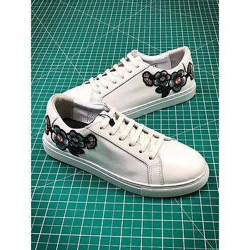 2018 OZLANA Spring Embroidery Flower White Sneaker #2 - Sale