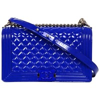 Chanel Blue Patent Leather & Plexi Glass New Medium Boy Bag
