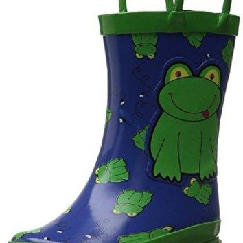 Little Boy's Green Frog Rain Boots Sizes Toddler/Little kids (12 M US Little Kid)