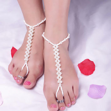 Imitation Pearl Barefoot Beach Anklets S als Anklet Foot Chain Jewelry white SM6