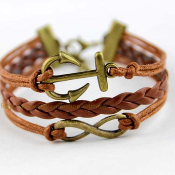ancient bronze anchor and infinite bracelet - wax rope woven bracelet, love gifts, Christmas gifts