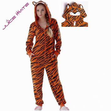 JuiceMate Plus Size Fleece Onesuit Animal Costume Overall Pyjama Suit Jumpsuit Hooded Tiger Coverall Pajama Onesuit For Men Women