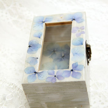 Jewelry box, Decoupage box, Box with real flowers, real flowers resin, jewelry boxes, box of blue hydrangea, flower box, gift box
