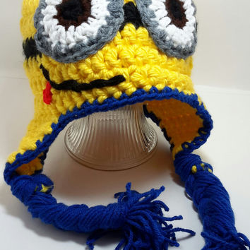 Crochet Minion inspired Hat. Despicable. yellow animal hat. made by bead gs on ETSY. All sizes. one eyed minion. two eyed minion.