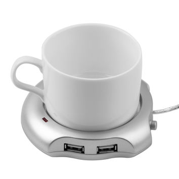 1 pcs Hot Worldwide Beverage Cup Silver 4 Port USB Hub + Tea Coffee Electric Warmer Heater