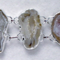 BRGeode13 Sterling Silver Bracelet made with Unique Pieces of Geode