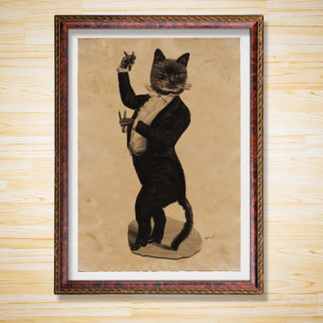 Cat wearing a suit print Animal poster Rustic decor