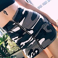 Fashion Camouflage Distressed Zip High Waist Short Package hip Skirt