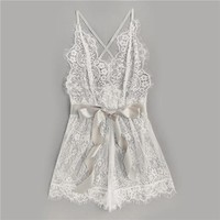 White Eyelash Lace One Piece