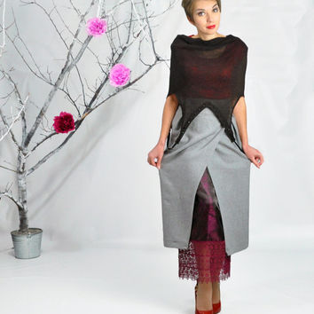 Maxi Skirt, Long Skirt, High Waisted Skirt, Boho Skirt, Pencil Skirt, Long Skirt in Grey, Wool Skirt, 40's Style Skirt, Pleated Skirt