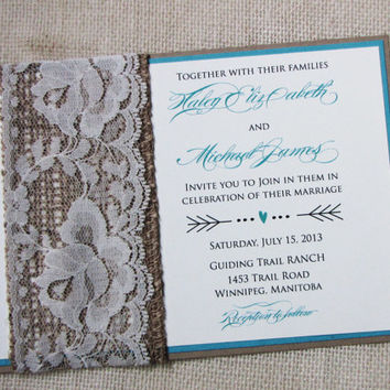 Burlap and Vintage Lace Band Tiffany Blue Rustic Wedding Invitation