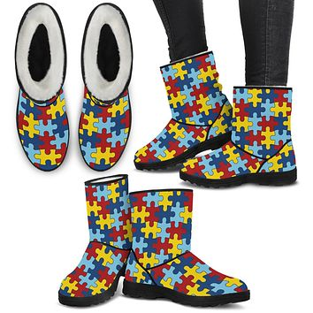Autism Awareness Faux Fur Boots For Women