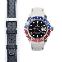 Curved End Racing Leather Strap for Rolex GMT Master I & II with Tang Buckle