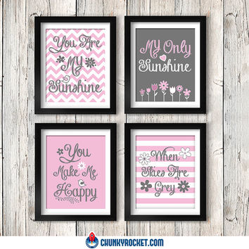 "You Are My Sunshine 4 Piece 11"" x14"" Set - Nursery Decor - Nursery Print - Baby Girl - Modern Decor - 11"" x 14"" Print - Wall Art"