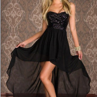Black Strapless Sequined Top Asymmetrical Hem Maxi Dress