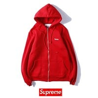 Supreme Fashion New Embroidery Letter Women Men Hooded Leisure Long Sleeve Top Coat Red
