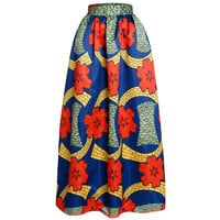African Print Ankara Dashiki Bohemian High Waist Pleated A-Line Maxi Flare Skirt in Coral Shade