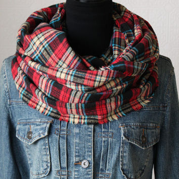Multi Colored Plaid Scarf, Plaid Infinity Scarf, Winter Scarf, Womens Scarf, Mens Scarf, Christmas Gift, Chunky Scarf