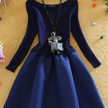 Autumn/Winter Japanese Style Blue Long Sleeve Mini Tutu Princess Vintage Hepburn Dress