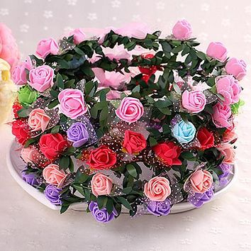 Hot Rose Flower Crown Headband Wreath Party Wedding Bridal Garland Hairband Headwear