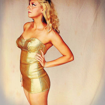 "Movie Star ""Marilyn Monroe"" 1950's Gold Metallic Pinup Swimsuit, Pinup Costume"