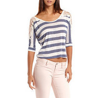 Lace Shoulder Striped Top: Charlotte Russe